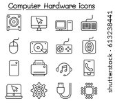 computer hardware icon set in...