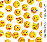 emoji seamless pattern on a... | Shutterstock .eps vector #613246469