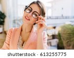 portrait of young charming... | Shutterstock . vector #613255775