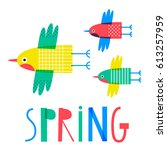 cute creative card template... | Shutterstock .eps vector #613257959