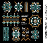 vector set. tribal folk aztec... | Shutterstock .eps vector #613259864