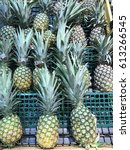Small photo of Selangor, Malaysia - April 02 2017 : Pineapples on shelf for sale at Aeon Anggun Rawang