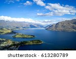 the blue lake and clear sky...   Shutterstock . vector #613280789