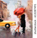 oil painting   dating couple   Shutterstock . vector #613287491