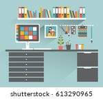 office workplace. painter ... | Shutterstock .eps vector #613290965