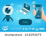 360 camera vr flat electronic... | Shutterstock .eps vector #613292675