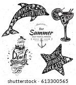 vintage summer typography...   Shutterstock .eps vector #613300565