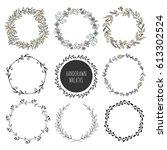 handdrawn vector wreaths.... | Shutterstock .eps vector #613302524
