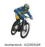 downhill bike | Shutterstock .eps vector #613303169