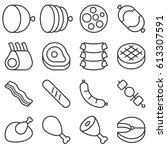 butchery products line icon set | Shutterstock .eps vector #613307591