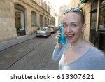 portrait of a woman fooling... | Shutterstock . vector #613307621