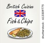 british cuisine   vector fish... | Shutterstock .eps vector #613309775