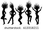 brazil carnival dancers vector... | Shutterstock .eps vector #613318211