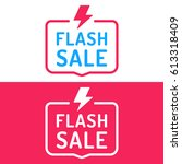 flash sale. badge with icon.... | Shutterstock .eps vector #613318409