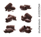 chocolate curls shavings... | Shutterstock . vector #613325564