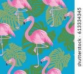 flamingo seamless pattern | Shutterstock .eps vector #613334345