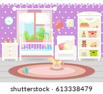baby room interior. flat design.... | Shutterstock .eps vector #613338479