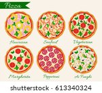 pizza set vector illustration.... | Shutterstock .eps vector #613340324