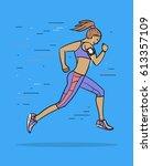 woman running  jogging. vector... | Shutterstock .eps vector #613357109