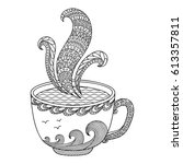black and white decorative cup ... | Shutterstock .eps vector #613357811
