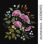 wild flowers embroidery on... | Shutterstock .eps vector #613360451