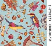 birds in autumn forest seamless ... | Shutterstock .eps vector #613361945