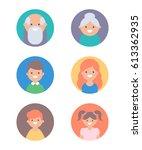 set of vector avatars  children ... | Shutterstock .eps vector #613362935