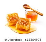 honeycomb with jar and honey... | Shutterstock . vector #613364975