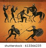 ancient greece scene. ancient... | Shutterstock .eps vector #613366235