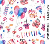 seamless pattern with balloons  ... | Shutterstock . vector #613369649