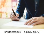close up of businessperson... | Shutterstock . vector #613375877
