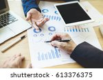 business team meeting working...   Shutterstock . vector #613376375