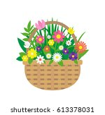 wicker basket with bouquet of... | Shutterstock .eps vector #613378031
