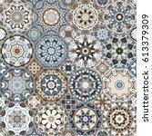 set of vector seamless arabic... | Shutterstock .eps vector #613379309