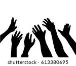silhouette vector of many hands ... | Shutterstock .eps vector #613380695
