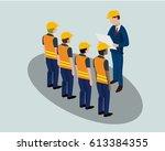 isometric cartoon of building ... | Shutterstock .eps vector #613384355