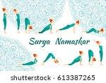 surya namaskar yoga complex sun ... | Shutterstock .eps vector #613387265