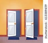 close and open door   vector... | Shutterstock .eps vector #613389659
