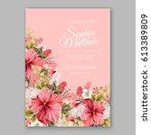 red hibiscus wedding invitation ...   Shutterstock .eps vector #613389809