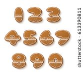 set of gingerbread cookies with ... | Shutterstock .eps vector #613390811