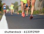 marathon running race  runners...   Shutterstock . vector #613392989