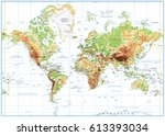 physical world map isolated on... | Shutterstock .eps vector #613393034