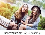 portrait of two beautiful young ... | Shutterstock . vector #613395449