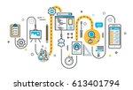 flat line illustration concept...   Shutterstock .eps vector #613401794