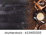 coffee background  top view... | Shutterstock . vector #613405205