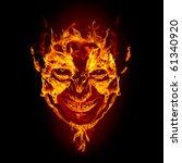 Fire Devil Face On Black...