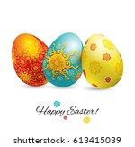 three bright ornamental... | Shutterstock .eps vector #613415039