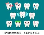 set of cute tooth emoji and... | Shutterstock .eps vector #613415411