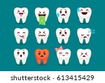 set of cute tooth emoji and... | Shutterstock .eps vector #613415429