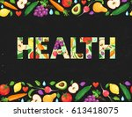 word health banner with fresh... | Shutterstock .eps vector #613418075